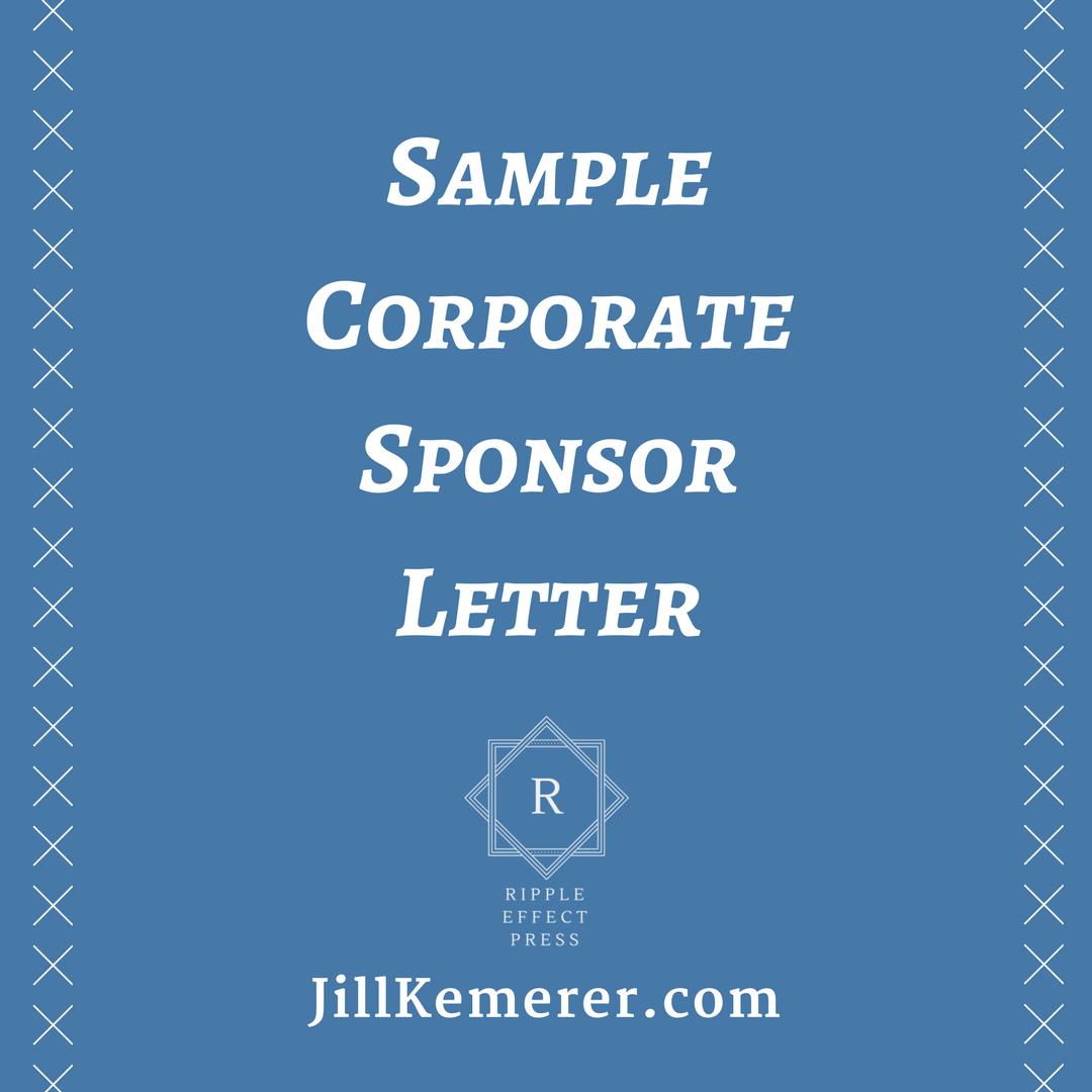 Sample Corporate Sponsor Letter