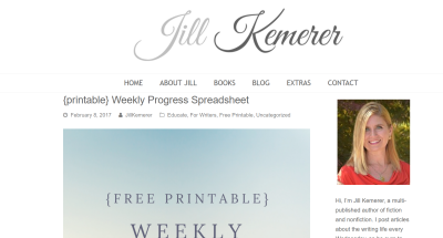 Jill Kemerer | Printable Weekly Progress Sheet