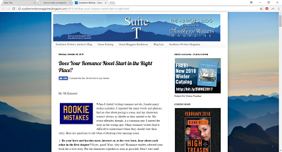 Southern Writers Magazine: Suite T | Does Your Romance Novel Start in the Right Place?