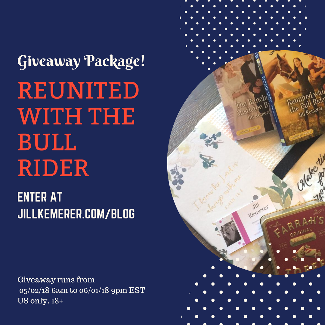 Reunited With The Bull Rider Giveaway Package! Jillkemerer.com/blog May 2018